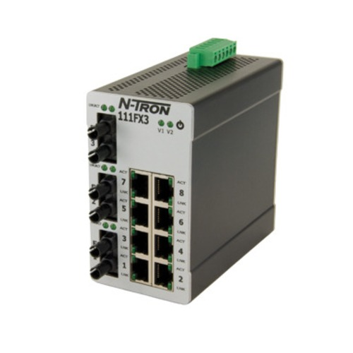 N-Tron 111FX3-ST 11_PORT_10_100BASEFX_FIBER_PORTS_INDUSTRIAL_ETHERNET_SWITCH_DIN_RAIL_MULTIMODE_ST_STYLE_CONNECTOR